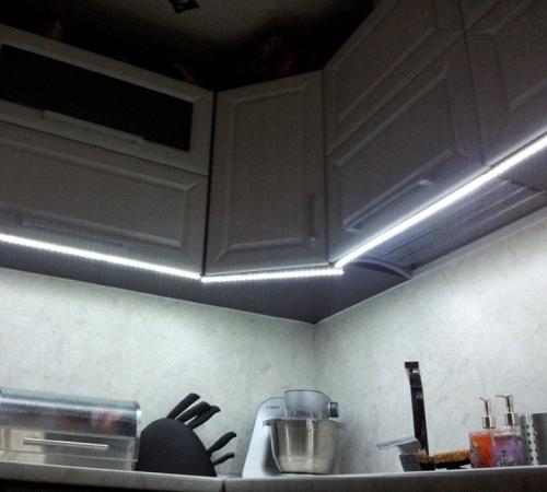 Подсветка кухни светодиодной ленты своими руками